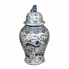 """Blue & White Large Porcelain Foo Dog Motif Temple Jar Ginger Jar 24"""" Foo Dog Top"""