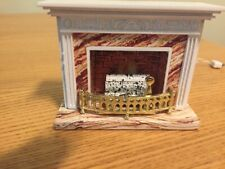 VINTAGE LUNDBY Marble Fire Place with Red Bulb  TESTED, with Lundby transformer