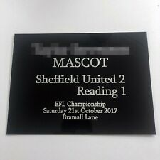Football Match Mascot - Engraved Plaque Ideal for framing with Signed Shirt worn