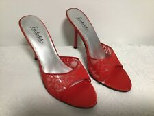 FREDERICKS OF HOLLYWOOD Red Heeled Shoes Pumps with Lace Size 10
