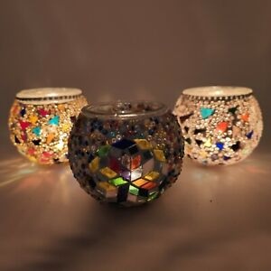 Handmade Colorful Shade Mosaic Candle Holder Set with Tea Light Candles 3 Pieces