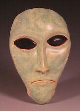 Eric Olson Pottery, Little Green Man Sculpture wall hanging, art pottery
