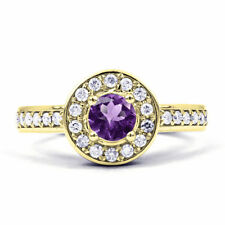 Cluster Not Enhanced Amethyst Yellow Gold Fine Rings