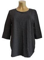 Nuevo Talla Especial Mujer Stretch Camiseta Negro con Lunares 3/4 Longitud Del