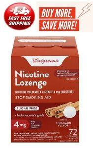 Walgreens Nicotine Lozenge 4 mg 72 Ct. Cinnamon Flavor Exp Compare to Nicorette
