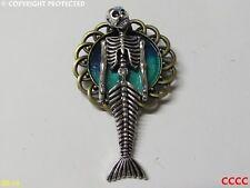 steampunk gothic blue brooch badge skull pirate ship skeleton skeletal mermaid