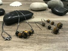 10MM Genuine Tiger Eye Gem Stone Earring and Necklace on  Silver Stainless Steel