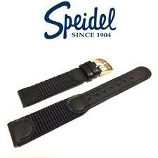 16mm SPEIDEL 524320 BLACK NYLON/LEATHER WATCH BAND STRAP FITS MEDIUM SWISS ARMY