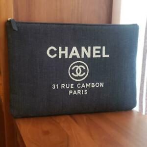 CHANEL Logo COCO Denim Clutch Bag Deauville Canvas Leather White CC From Japan