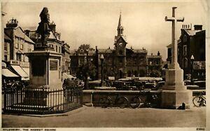 Vintage postcard Aylesbury Market Square Bucks 1953 sepia card slight tear right