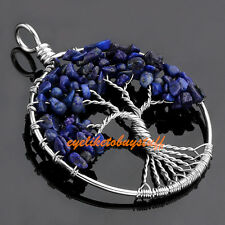 1x Natural Lapis Lazuli Gems Tree Of Life Chip Bead Healing Chakra Reiki Pendant
