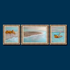 Beach Painting Original Art. Dawn on a Tropical Island. Set of 3 Oil Artworks.