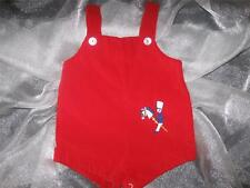 Vtg Boys 3-6M 3-6 Months Red Velvet Holiday Christmas Jon Romper Outfit Shortall