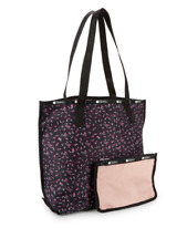 LESPORTSAC  MADISON TOTE Reversible Floral Pink Black with Zip Pouch Nwt