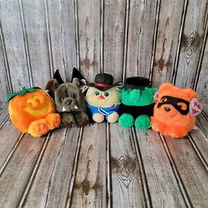 Puffkins Lot of 5 Halloween Plush Stuffed Toys Bat Scarecrow Pumpkin Swibco