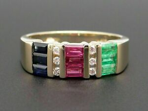 14k Yellow Gold Over Baguette Cut Emerald Ruby Sapphire Diamond Band Ring