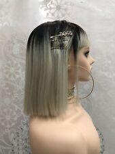 Short Full Wig W/ Bangs Women Straight Natural Looking Cosplay Black Blonde Wig
