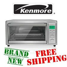 NEW Kenmore 4 Slice TOASTER OVEN Kitchen Broil Bake Rack Pan Stainless Steel