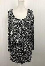 Soma Live Lounge Wear Black White Floral Paisley Sleep Shirt PJ L