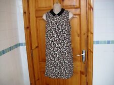Vintage style mod shift dress sz 10 black print and collar atmosphere BNWT 60s v