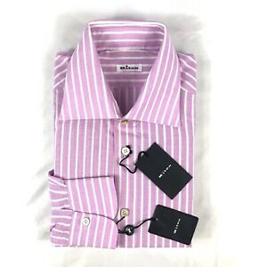 Kiton Pink White Striped Linen Blend Button Front Size Mens 16 41 NWT
