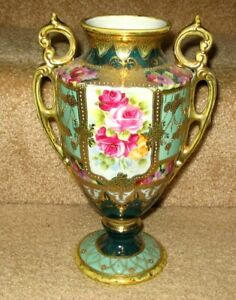 """Hand Painted Nippon Vase Gold Moriage Red Yellow Pink Roses 10"""""""