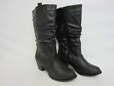 Spot on F50097 Ladies Black PU Mid Calf BOOTS UK Sizes 3 - 8 (r6a) Uk6 Eu39