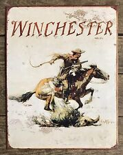 WINCHESTER Horse-Rider Vintage Tin Metal Sign