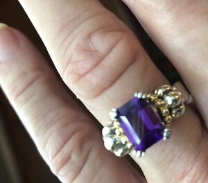 Lagos Amethyst Sterling Silver and 18K Gold Ring Size 7