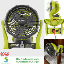RYOBI 18V Portable Fan Hybrid Compact Electric Power Adjustable Outdoor Cooling