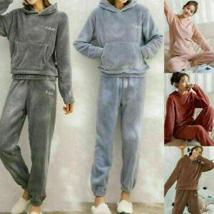 Girls Solid Pocket Fleece Winter Hoodies Warm Suit Velvet Thick Pajamas Women