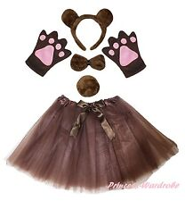 Halloween Party Coffee Brown Bear Adult Headband Paw Tail Bow Skirt Costume Set