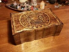 Triple Moon Hand Carved Wooden Crystal/Herb/Tarot Box