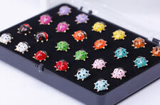 Bulk Wholesale Cute 24pcs Mixed Colorful Gold Ladybug Stud Earring for Women Men