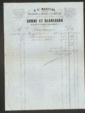 """LIMOGES (87) MAISON de BLANC & DEUIL """"A ST-MARTIAL / BORNE & BLANCHARD"""" en 1858"""