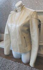 Reduced ! Stunning Belstaff  Ivory Leather GANGSTER Jacket Size 40 UK 8