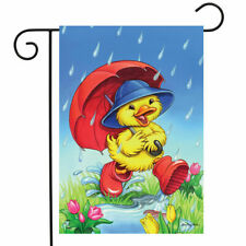 "FM199 CUTE RAINY DAY DUCK  SPRING SUMMER  12.5""x18"" GARDEN FLAG BANNER"
