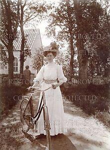 8x10 photo print: 1890s Victorian woman w/ bicycle dress hat fashion sports bike