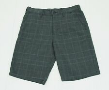 Hurley Black Plaid Striped Cotton Blend Casual Chino Shorts Mens 32