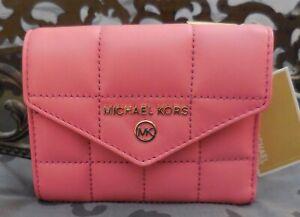 MICHAEL KORS ~Jet Set Charm QUILTED LEATHER MEDIUM ENVELOPE Wallet~PINK~NWT $128