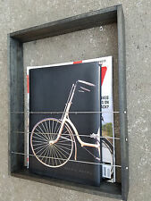 Wood Magazine Book Rack Wall Mount Bicycle Spokes & Chain Plates Cycling Bmx