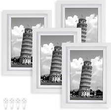 New ListingNacial Picture Frames 5x7 Set of 4, White Photo Frame, Display 4x6 Photo with Ma