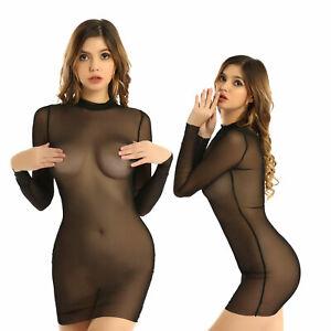 Womens Long Sleeve Mesh Sheer Bodycon Dress Mini Dress Sexy Clubwear Party Dress