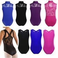Girls Lace Splice Sleeveless Dancewear Ballet Dance Gymnastics Leotard Jumpsuit