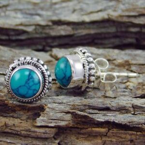 Vintage 925 Silver Filled Turquoise Earrings Ear Stud Dangle Mother's Jewelry