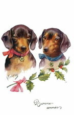 Feiertag~French New Year Art~Dachshund Dogs~Pink & Blue Ribbons~New Note Cards