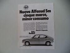 advertising Pubblicità 1976 ALFA ROMEO ALFASUD 5M