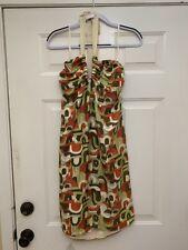 Mon Petit Oiseau Women's Halter Dress Short Silk Sleeveless Geometric Retro Sz M