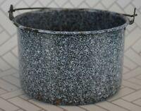 Vintage Rustic Dark Blue & White Speckled Enamel Pot With Handle