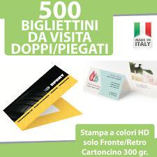 500 BIGLIETTI DA VISITA DOPPI PIEGATI Stampa FRONTE RETRO a COLORI Bigliettini